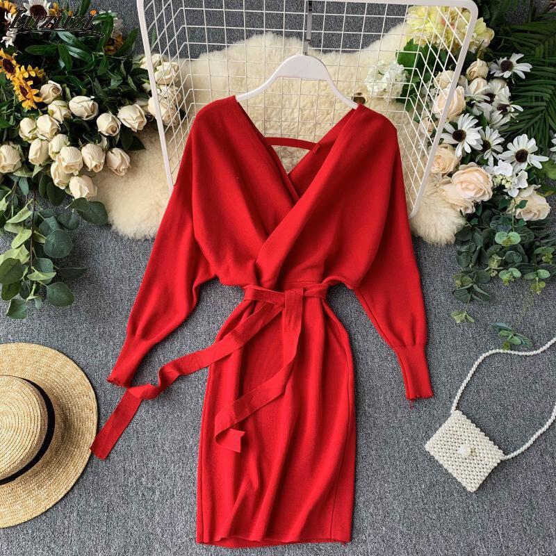 Luzuzi outono inverno feminino vestido de malha camisola 2020 novo coreano longo batwing manga v pescoço vestido elegante senhoras vestido bandagem