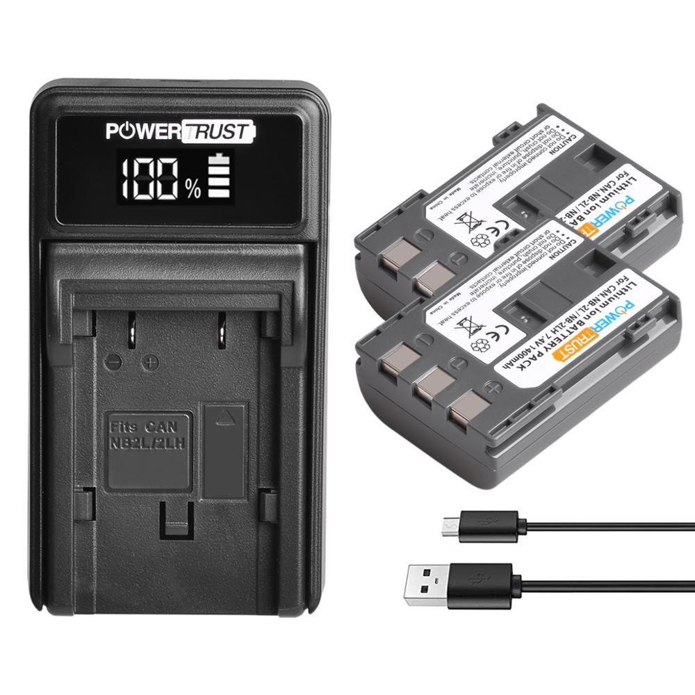 2Pack 1400mAh NB-2L NB-2LH NB2LH Battery + LED USB Charger for Canon PowerShot G7 G9 S30 S40 S45 S50 S60 S70 S80 DC410