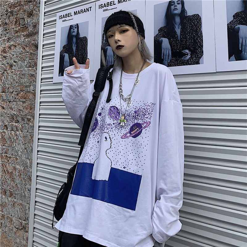 NiceMix 2020 primavera y otoño impresión coreana suelta bf cuello redondo Camiseta de manga larga