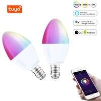 Ampoule LED connectee Tuya  wi-fi  E14  RGB  variable  telecommande  fonctionne avec Alexa  Echo  Google Home Assistant  aucun Hub requis