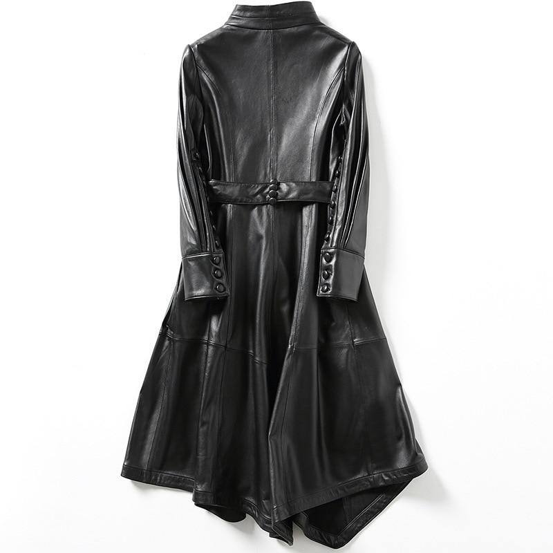 Long term spring new Haining leather women's sheepskin slim lace up long coat enlarge