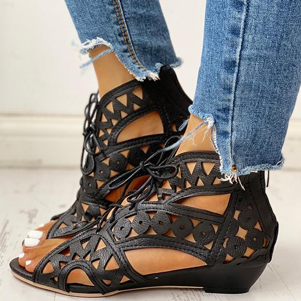 Doratasia 2020 wholesale plus size 43 shoelaces gladiator summer boot sandals woman leisure wedge heel comfort women shoes