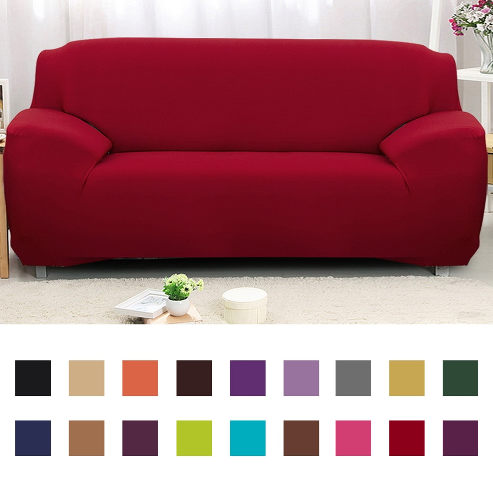 1/2/3/4 assentos cor sólida capa de sofá elástica envoltório apertado antiderrapante capa de sofá toalha all-universal capa de sofá slipcover