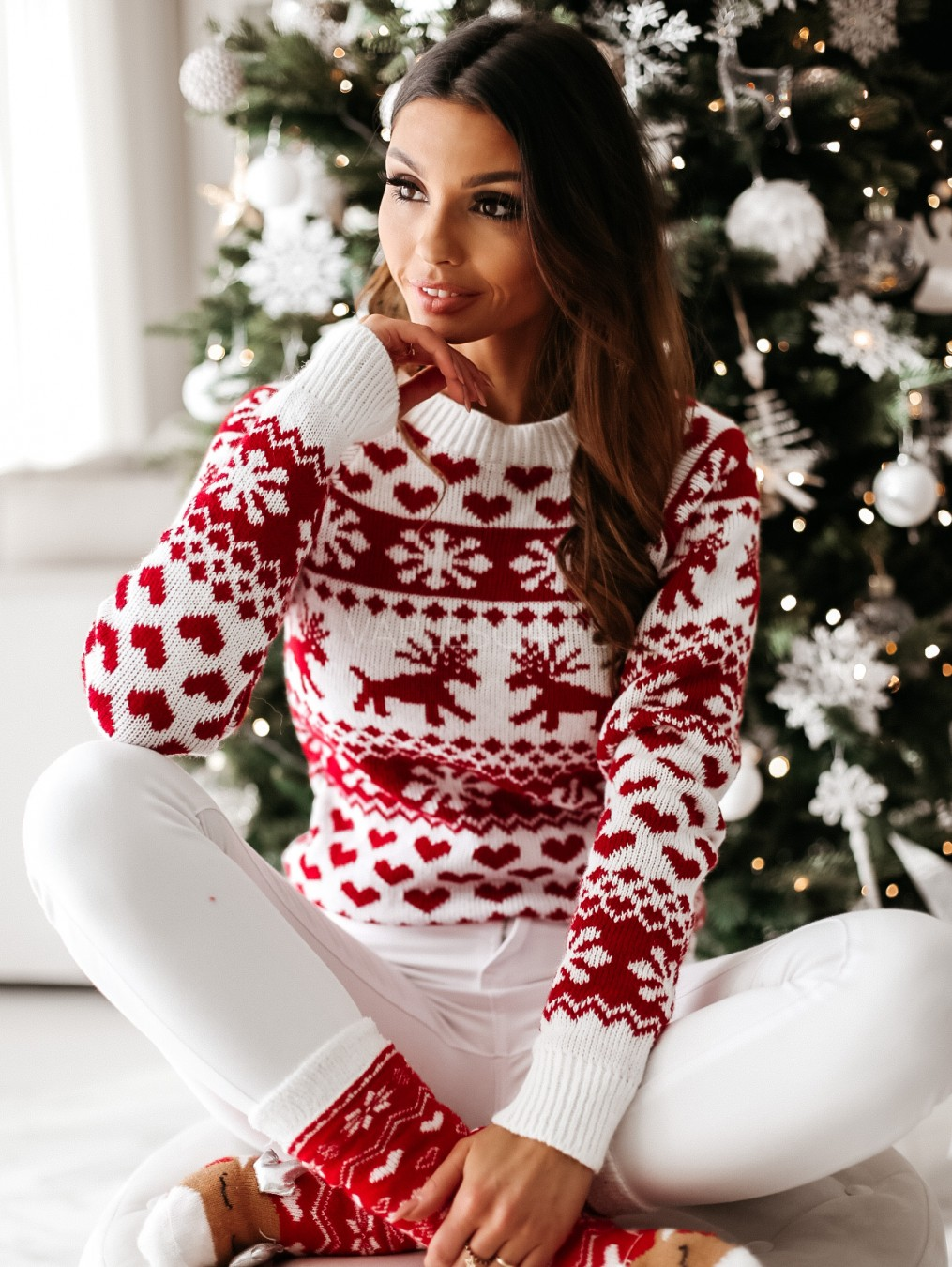 Casual Women Fall Winter Christmas Sweater Plus Size Ladies Knitted Red Tops Pullover Sweater Snowflake Elk Sweaters Pullovers new autumn winter knitted sweaters women christmas theme cute snowman and christmas tree ugly christmas sweater pullover women