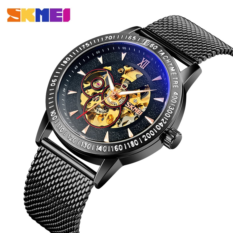 SKMEI Luxury Mechanical Watch Mens Watch Automatic Watches Men  Quartz Stainless Steel Waterproof Clock Hollow-carved Design New