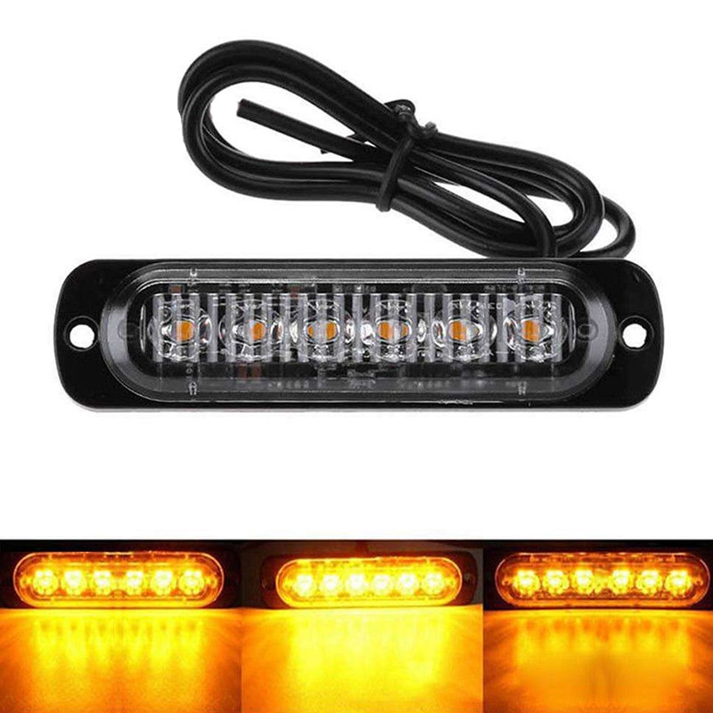 6 LED Strobe Warning Light Yellow Flashing Emergency Lamp Car Truck Trailer Safety Urgent Signal Lamps DC 12V-24V 18W