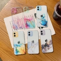 watercolor painting phone case for iphone 11 pro 11 pro max clear shockproof cover for iphone se2020 coque funda
