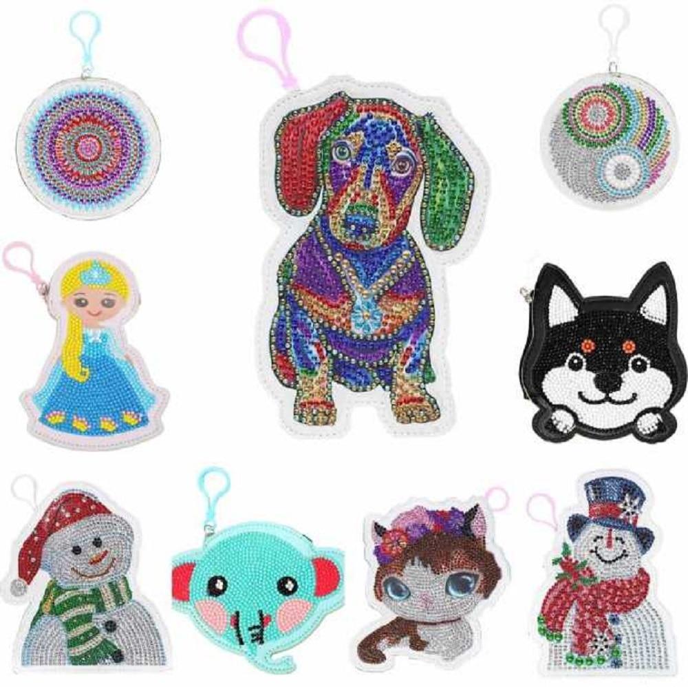 Diy especial em forma de diamante pintura carteira mandala moeda bolsa chaveiro pingentes ponto bordado presentes de natal para meninas