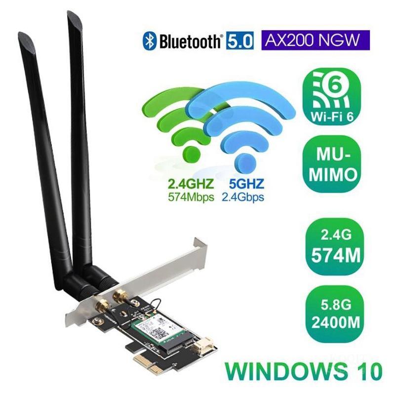 Dual Band 2,4G/5G 3000Mbps 802,11 ax Intel AX200 Wifi 6 PCI-E PCI Express Wifi Adapter Bluetooth 5,0 netzwerk Karte Für Desktop PC