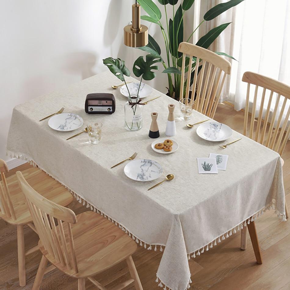 Mantel de Mesa rectangular de lino para el hogar, decoración de habitación,...