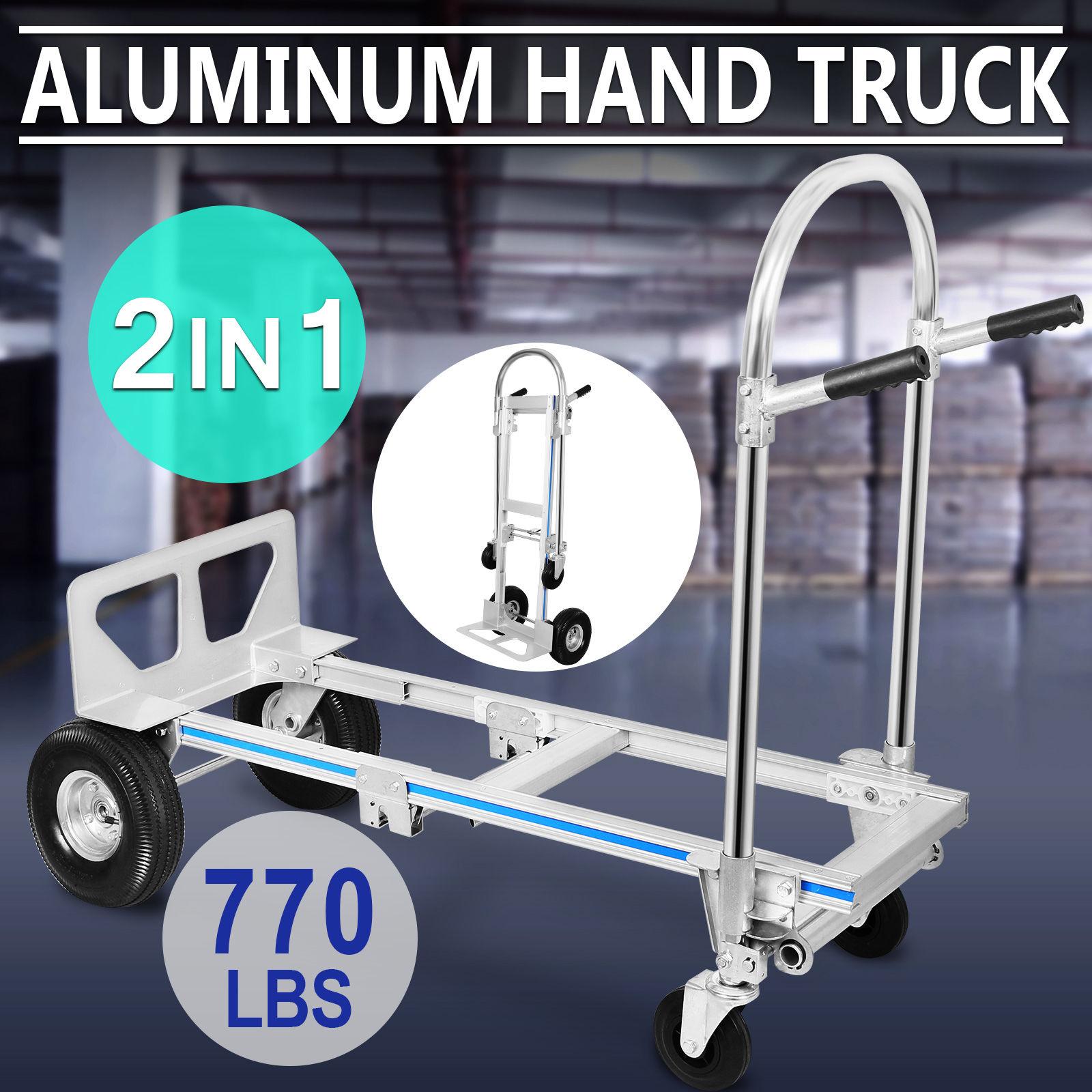 2in1 Hand Truck Convertible Folding Dolly Garden 4-Wheels Barrow Transport Trolley Carretilla Luggage Shopping Travel Cart 770LB