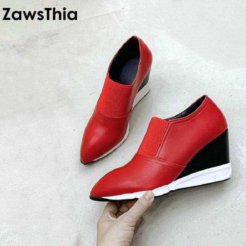 ZawsThia 2020 primavera otoño puntiagudo dedo del pie Rojo Negro cuñas mujer bombas puntiagudos zapatos de tacón alto de las mujeres ocasionales slip-on tamaño 40