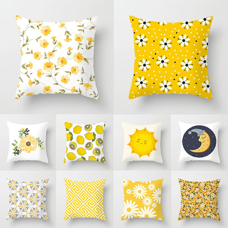 New Nordic Geometric Pillow Case Yellow Small Fresh Floral Sofa Seat Living Room Soft Cushion Cover Home Decorative Pillowcase