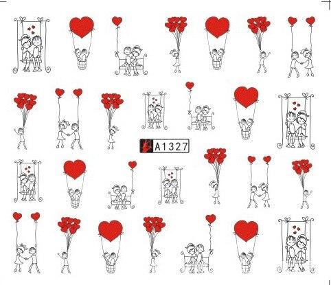 Calcomanías al agua Nail Art calcomanías de tatuajes deslizantes de Amor amor corazón decoración de uñas, envolturas de aluminio para manicura