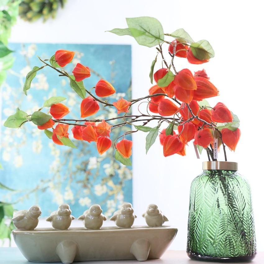 Bela lanterna frutas núcleo de espuma Flores Artificiais Casamento Xmas Decoração queda plantas falsas flores artificiales
