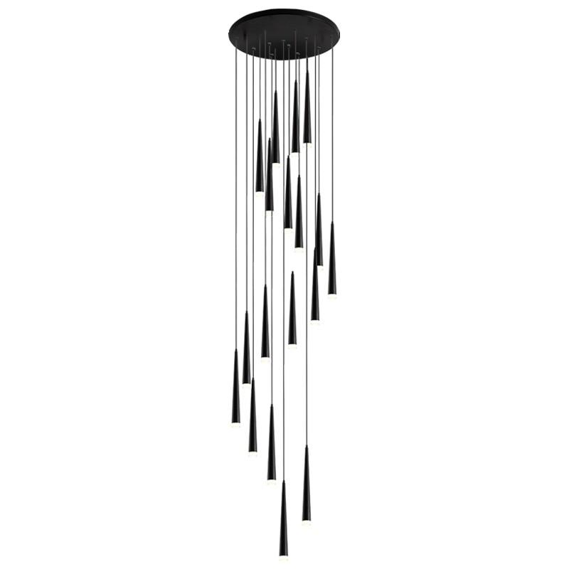 Trap Hanglampen Moderne Eenvoudige Zwarte Kegel Buis Led Lange Roterende Opknoping Lamp Nordic Duplex Restaurant Loft Slaapkamer Verlichting