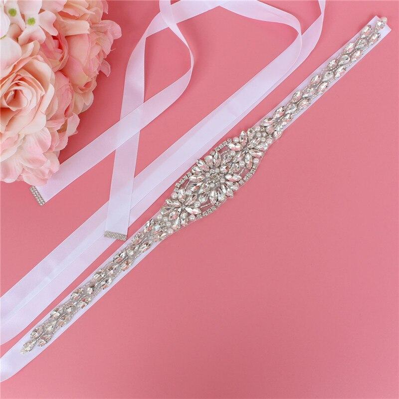 Bridal belt wedding dress with silver crystal rhinestone applique belt,