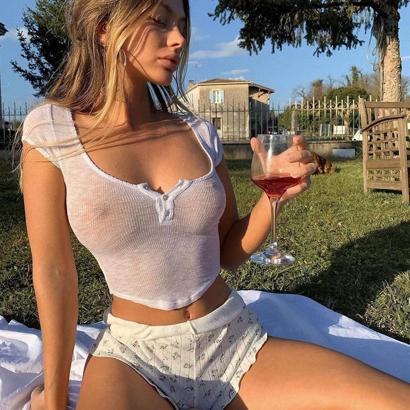 Harajuku branco magro ajuste macio mulher camiseta croptop verão casual básico streetwear feminino puro gola quadrada camiseta topo 2020