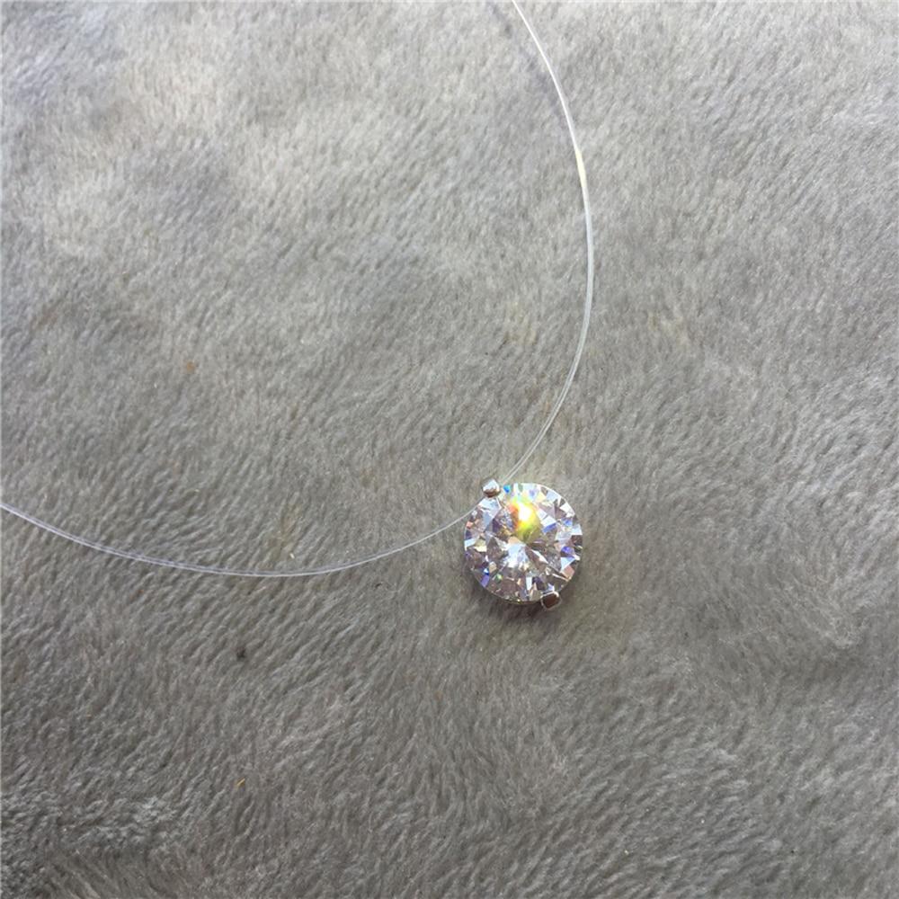 Verano 925 gargantilla de plata Invisible Fish Line Collar de cristal colgantes circón mujeres clavícula cadena señora Feminino Collar