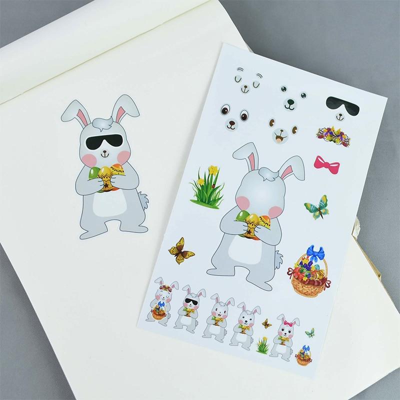5 stücke Kaninchen Aufkleber Ostern Dekorationen DIY Papier Decals Cartoon Hase Eier Aufkleber Selbst-Adhesive Wand Aufkleber Ostern Party
