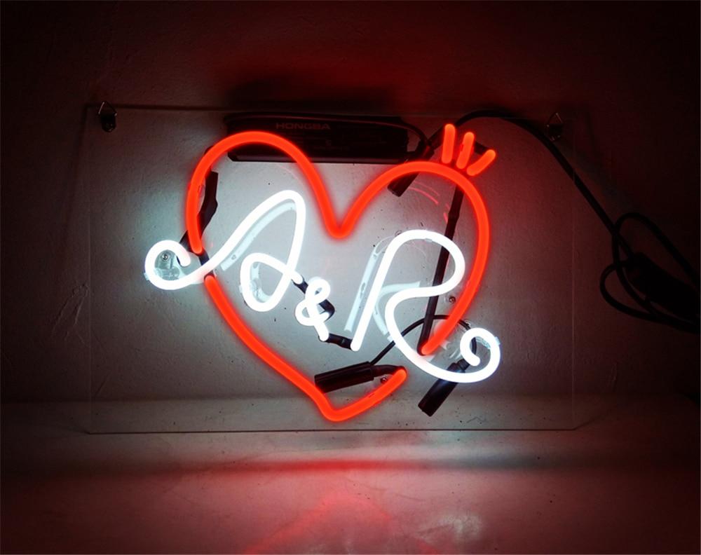 Letrero de luz de neón personalizado nombre Bar cerveza decoración del hogar tienda abierta lámpara Display A & R 10x8
