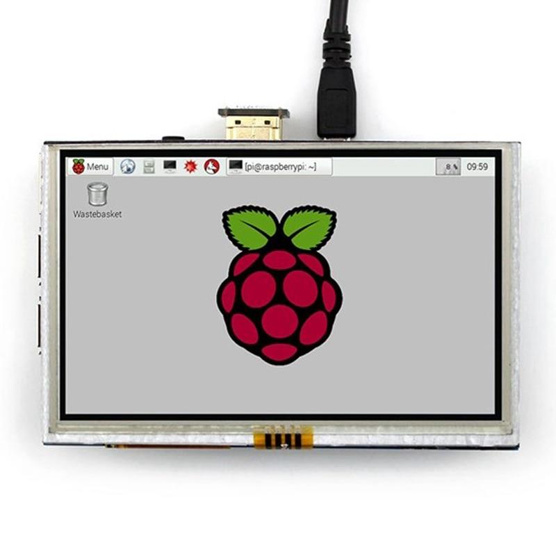 new 7 inch usb hdmi lcd display monitor capacitive touch screen holder case for raspberry pi windows jetson nano 5 inch Portable Monitor HDMI-compatible 800 x 480 Capacitive Touch Screen LCD Display For Raspberry Pi 4 3B+