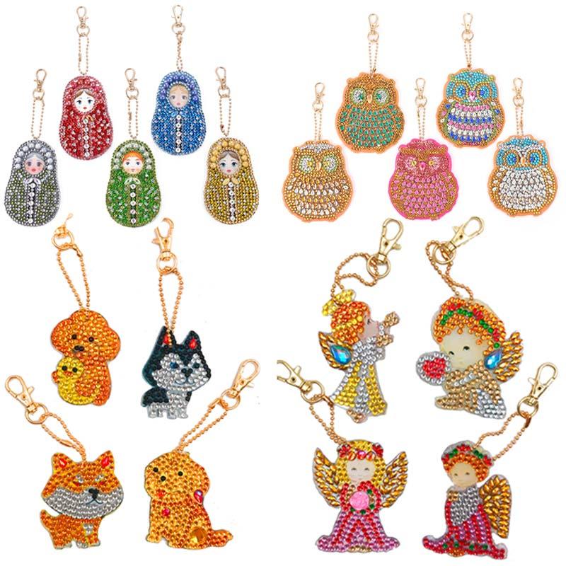 4 pièces bricolage plein forage spécial diamant peinture porte-clés dessin animé coeur animaux porte-clés femmes sac pendentif porte-clés cadeaux