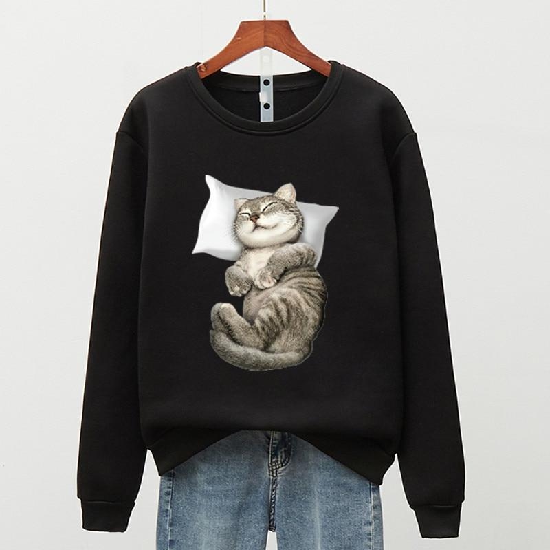 Флисовая теплая толстовка в стиле Харадзюку, женская уличная одежда с изображением спящего кота, Женская милая толстовка, Модные Повседнев...