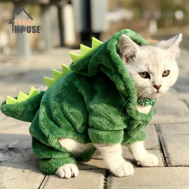 Snailhouse מכירה לוהטת בגדי חתול מחמד מצחיק דינוזאור תחפושות חורף חם קטיפה חתול מעיל קטן חתול חתלתול הסווטשרט גור כלב בגדים