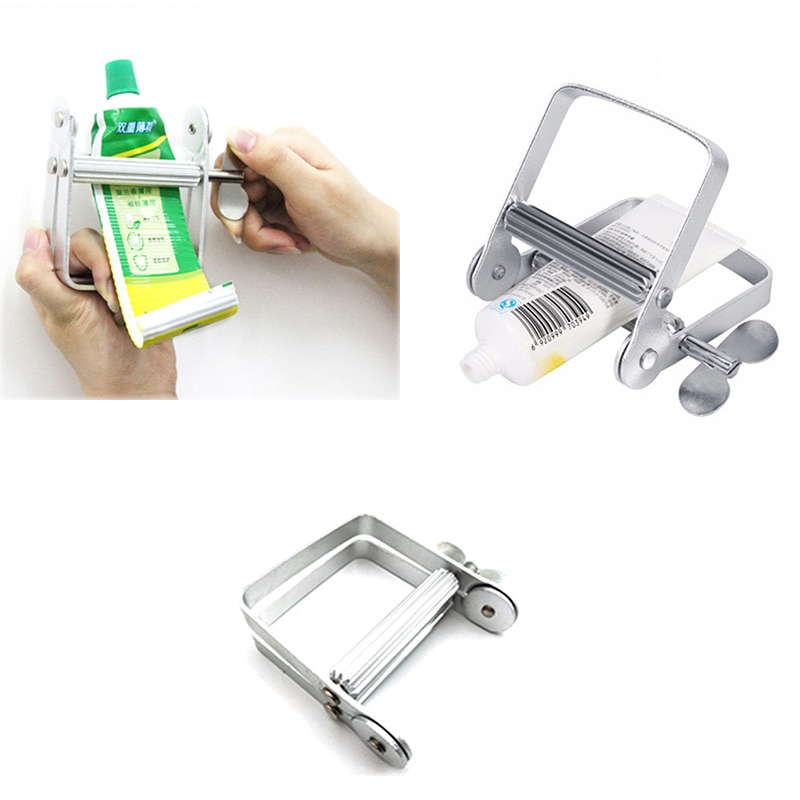 Portable Manual Aluminum Toothpaste Dispenser Tooth Paste Tube Squeezer Accessories Hair Color Dye Paint Rolling Squeezing Tools
