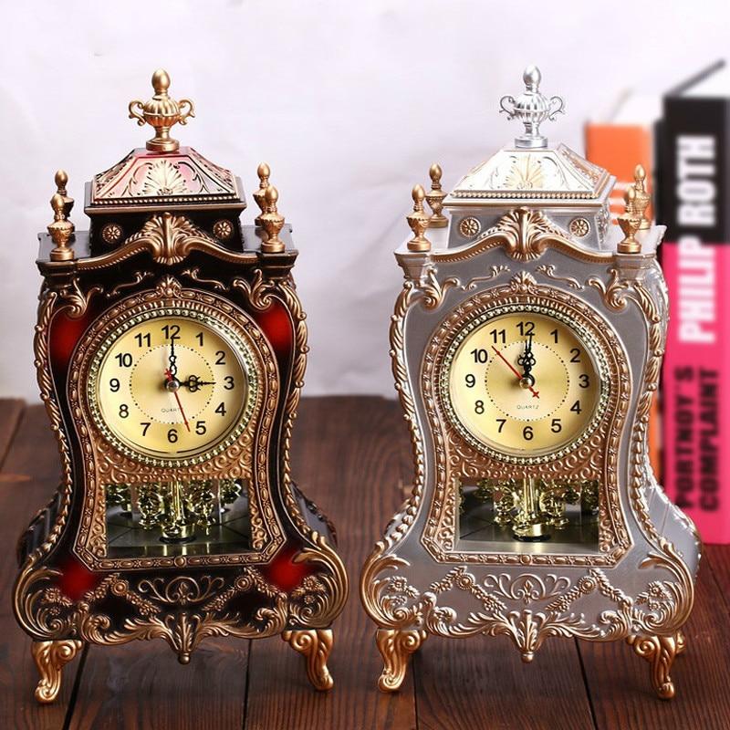 Reloj despertador Retro para escritorio, reloj Vintage, mueble de TV para sala de estar clásica, péndulo creativo europeo Imperial, MJ72403