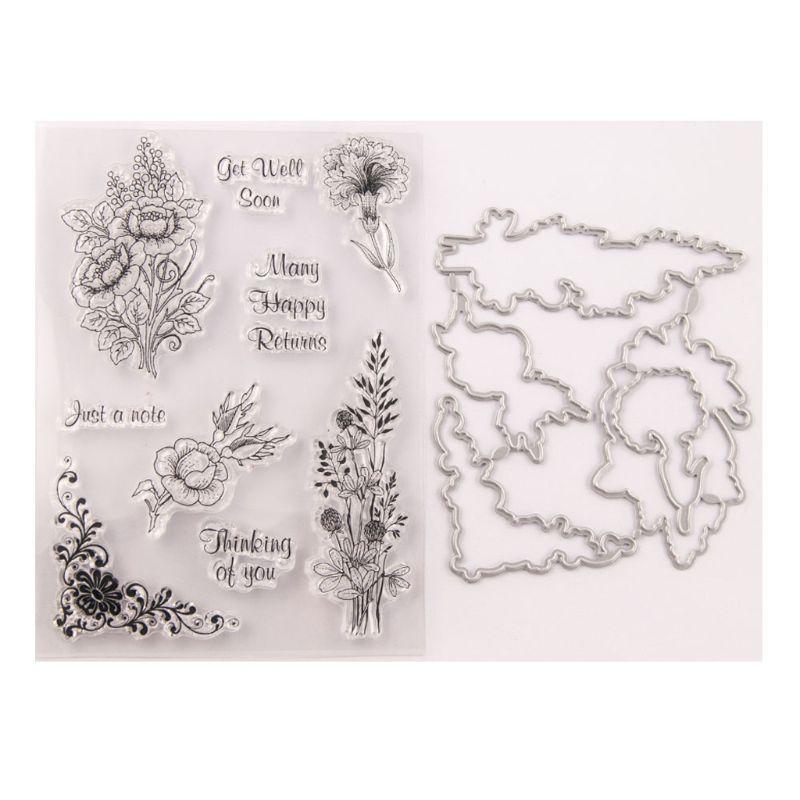 Get Well Soon Flower Seal Stamp with Cutting Dies Stencil Set DIY Scrapbooking 95AA