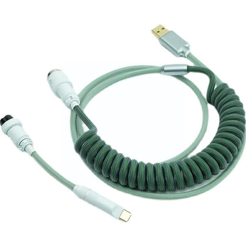 1 مجموعة الزيتون الأخضر نوع-c لوحة المفاتيح الميكانيكية كابل بيانات التوصيل التوصيل مطلي بالكروم الطيران لوحة المفاتيح مع خط Q8N2