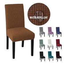 Barato jacquard impermeável jantar cadeira capa elastano elástico slipcover sala de jantar cadeira caso para casamento hotel banquete