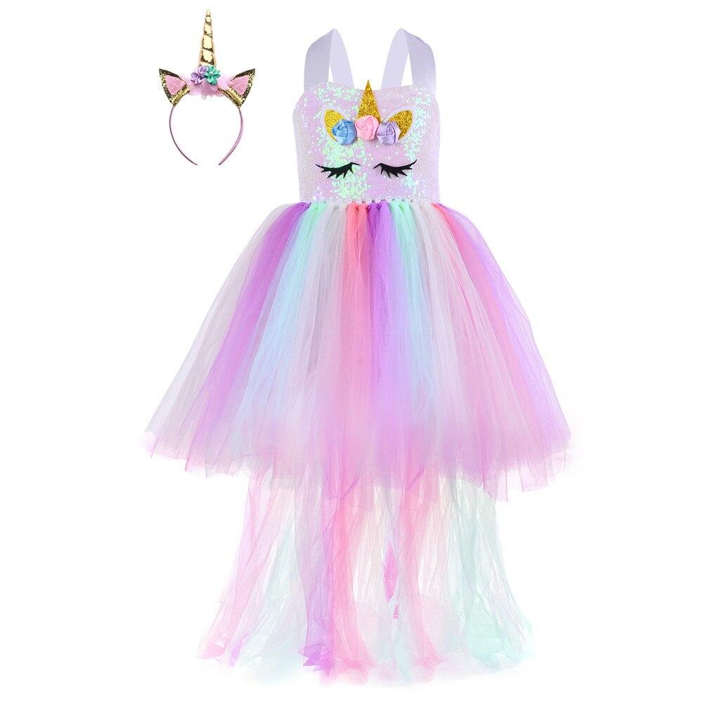 ملابس للبنات ملابس تنكرية تنورة مهرجان للأطفال توتو أنثى حفلة مجموعات صفراء مرحلة الكرتون يونيكورن الأميرة فستان