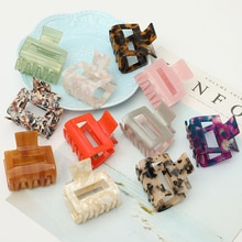 Korean Acrylic Women Hair Claws Crab Clamps Charm Solid Color Leopard Lady Clips Retro Make up dress