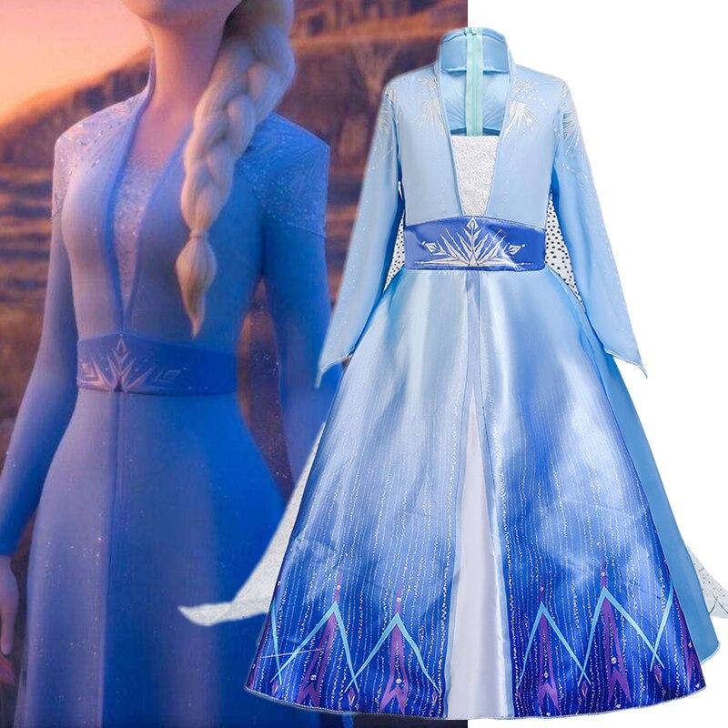 Snow reina disfraces Cosplay Anna Elsa 2 niñas Vestido niños Navidad Fiesta Disfraz Halloween Vestido de juego de rol niños Robe Fille