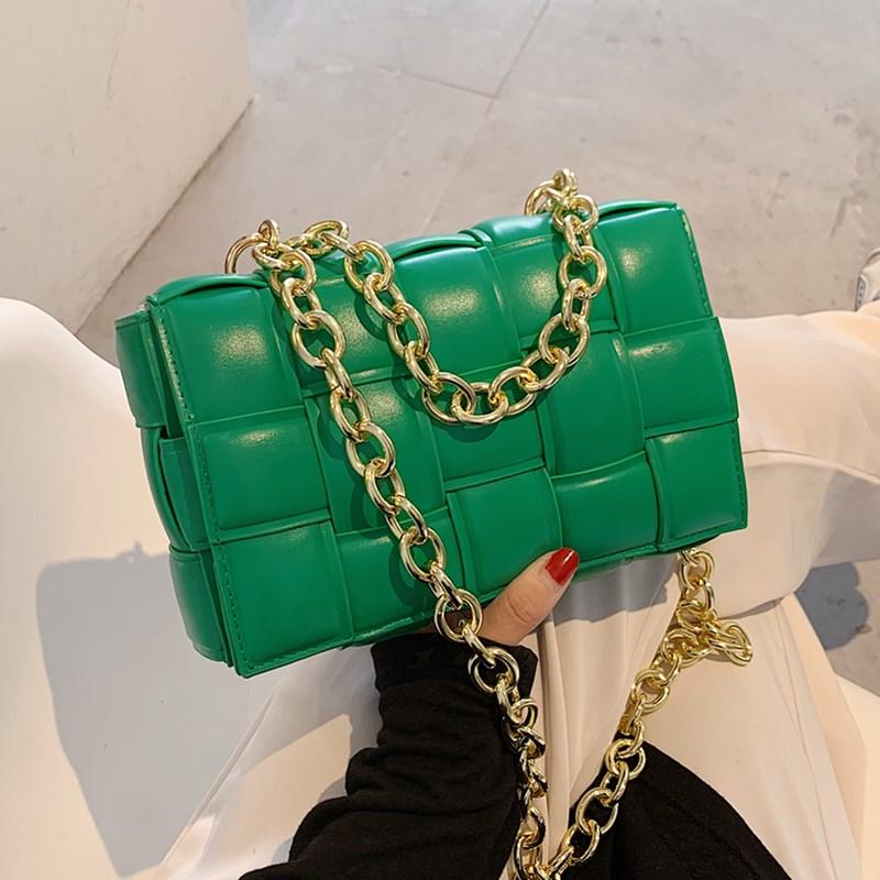 Green Weave Crossbody Bag Luxury Women Designer Leather Shoulder Bags Small Flap Messenger Handbag Chain Tote Bag Bolsa Feminina