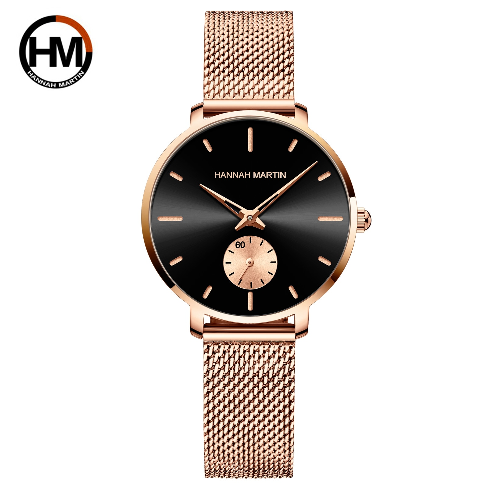 2021 New Japan Small Seconds Dial Quartz Movement Fashion Watch Waterproof Simple Women Gold Mesh Be