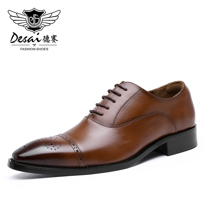 Desai-أحذية عمل غير رسمية للرجال ، أحذية أكسفورد من الجلد الطبيعي ، مريحة مع أربطة مثقوبة للعمل