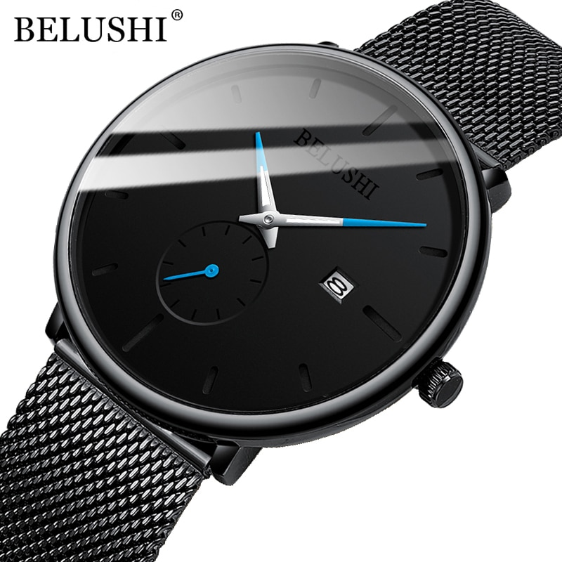 BELUSHI New Fashion Mens Watches Top Brand Luxury Quartz Watch Men Mesh Steel Waterproof Ultra-thin Wrist Watch For Men Clock new men watches top brand luxury 50m waterproof ultra thin date clock male steel strap casual quartz watch men wrist sport watch