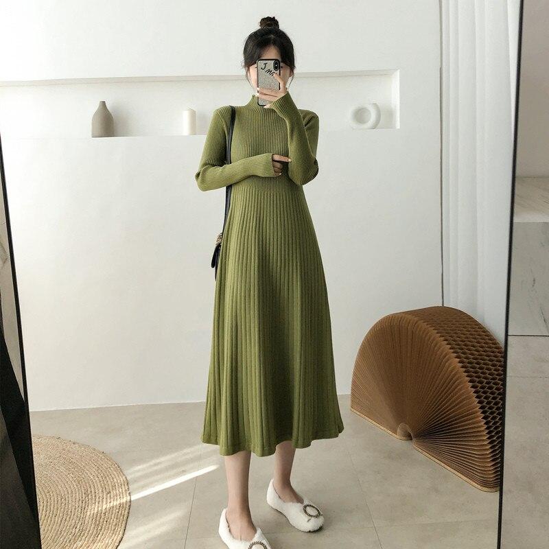 Otoño invierno cálido Vestido de punto de las mujeres Corea medio cuello de tortuga suéter de fondo vestidos señoras elegante Retro A-Line Vestido de punto