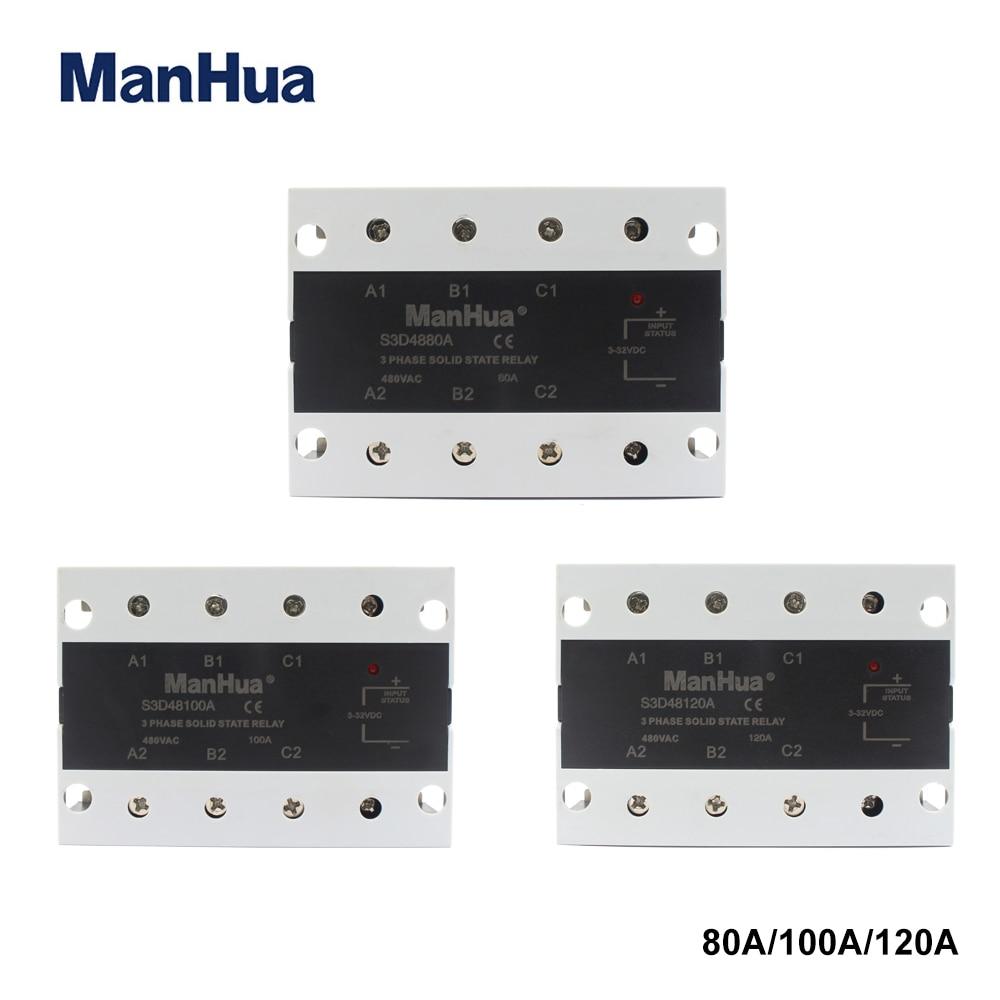 مانهوا SSR DC-AC 80A/100A/120A ثلاث مراحل تتابع الحالة الصلبة 480VAC 3-32VDC
