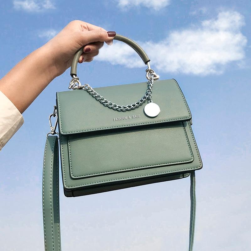 أنيقة الإناث مربع حمل حقيبة 2021 موضة جديدة عالية الجودة بولي Leather جلد المرأة مصمم حقيبة يد السفر الكتف حقيبة ساعي