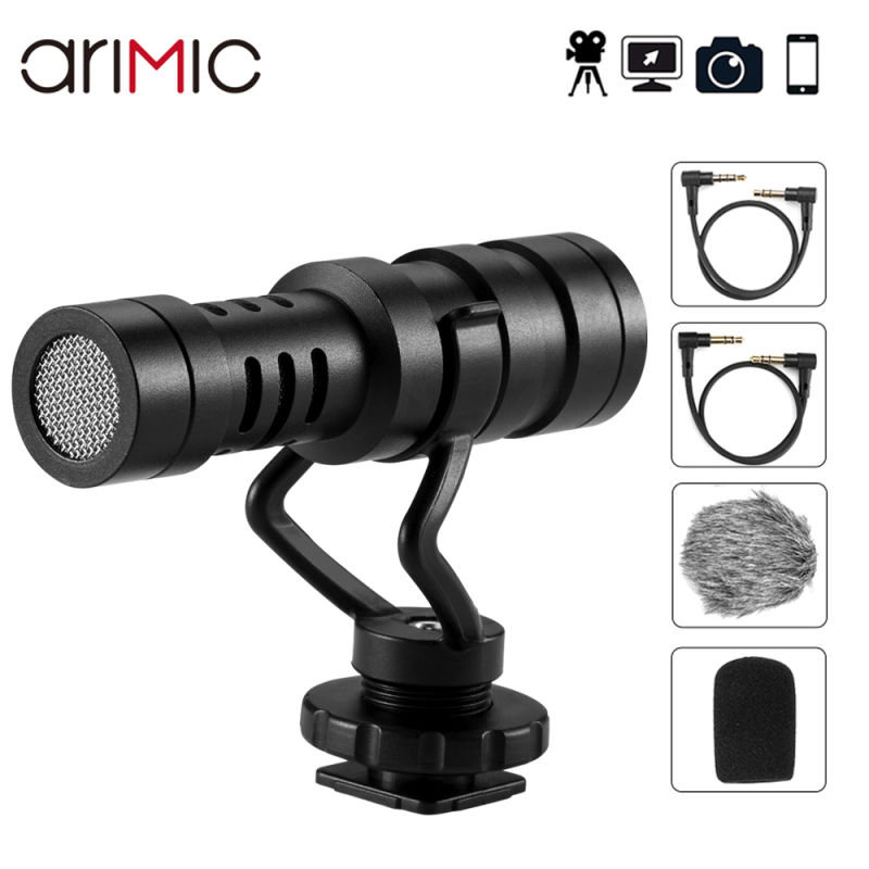 Ulanzi arimic mini shotgun microfone cardióide microfone gravação de voz para dslr iphone android smartphone entrevista microfone
