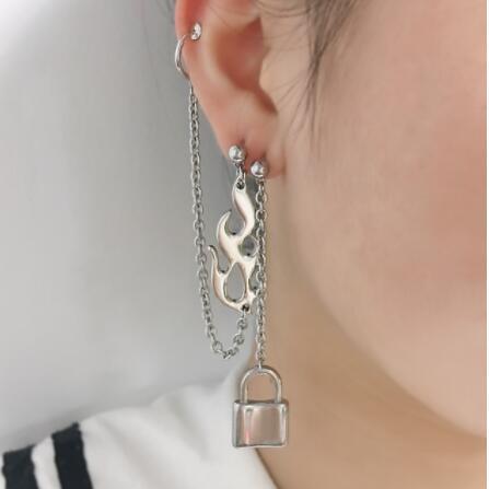gothic Punk egirl Flame Lock Earrings e-girl Irregular girls Unisex Metal Earring  Fashion Accessories Jewelry e-girl egirl