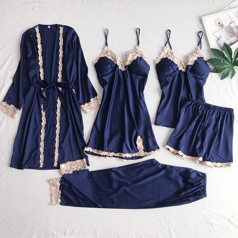 Amas feminino cetim pijamas de renda azul marinho com decote em v pijamas terno primavera pijamas negligee sedoso sleepwear casa