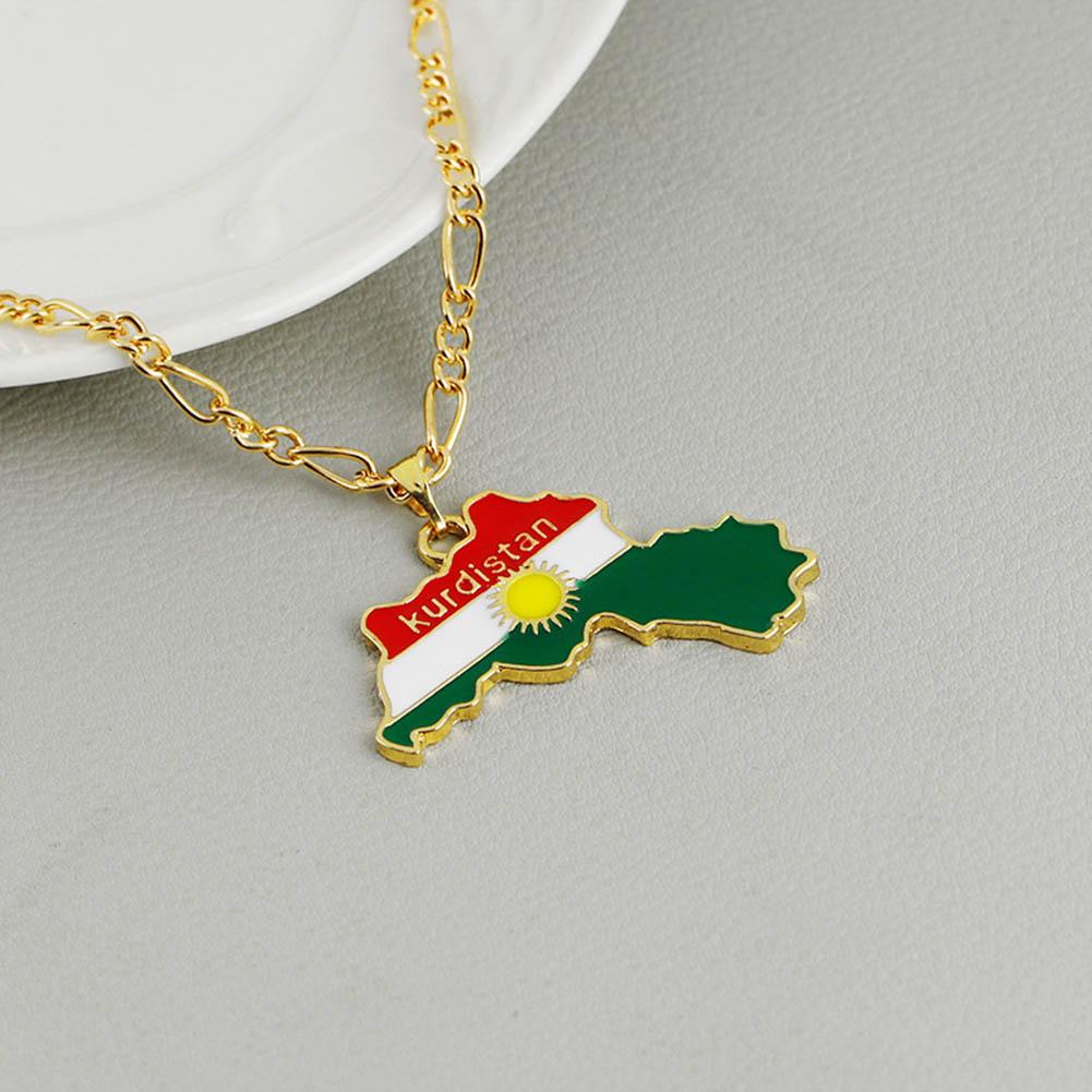 Kurdistan Patriot Chain National Flag Of Kurdish Jewelry For Women Men Kurdistan Region Map Pendant Necklaces