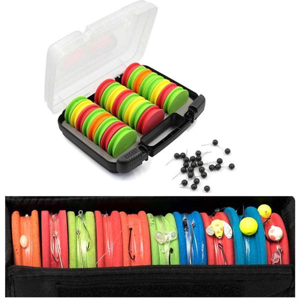 24pcs EVA Winding Coil With Box Lightweight EVA Winder Rig Line Winder Pin Needle Fish Tackle Portable Pesca Iscas Fishing Tools