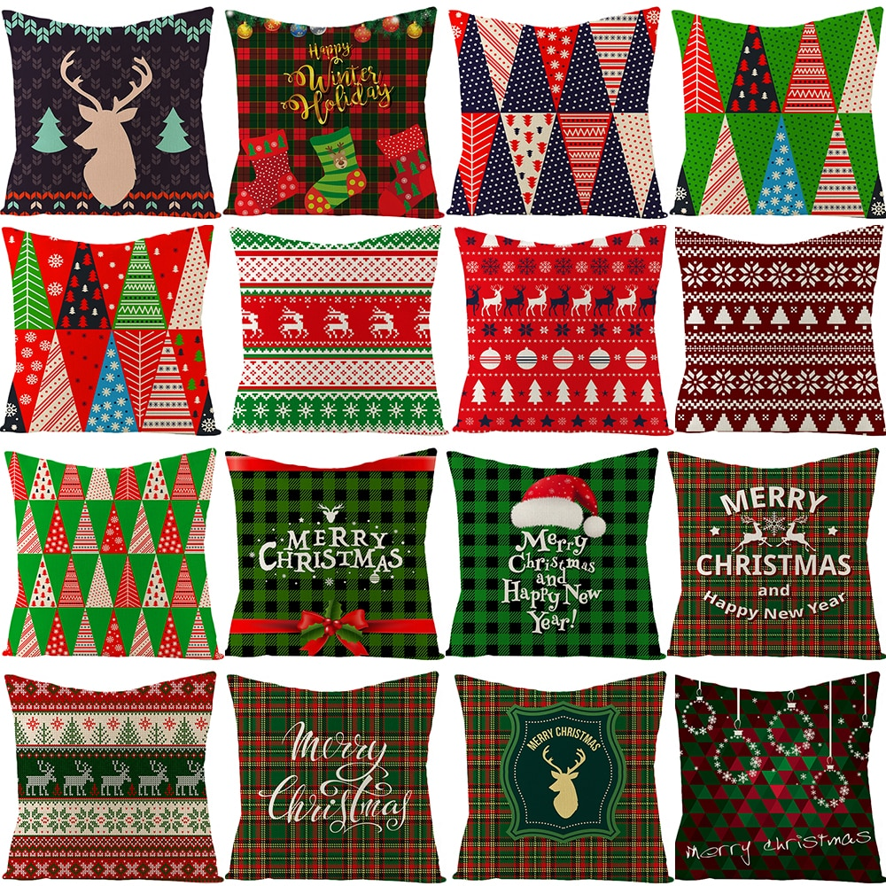 merry christmas cushion cover christmas decorations for home happy new year decor christmas ornament cotton linen pillow cover pillowcase 45cm x 45cm 45cm Merry Christmas Cushion Cover Pillowcase 2021 Christmas Decorations For Home navidad Xmas Noel Ornament Happy New Year 2022